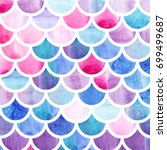 mermaid scales. watercolor fish ... | Shutterstock . vector #699499687