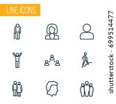 people outline icons set.