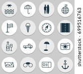 tourism icons set. collection... | Shutterstock .eps vector #699516763