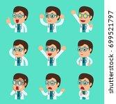 cartoon male doctor faces... | Shutterstock .eps vector #699521797