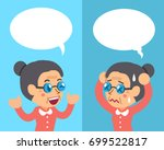 cartoon senior woman expressing ... | Shutterstock .eps vector #699522817