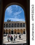Small photo of Spain, 18/04/2016: view of the cloisters of the Admiral's Hall, the House of Trade with the Indies founded in 1504 by Queen Isabel I after the discovery of America, in the royal Alcazar of Seville