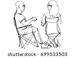 man in glasses and a woman... | Shutterstock .eps vector #699533503