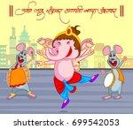 happy ganesh chaturthi festival ... | Shutterstock .eps vector #699542053