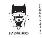 cartoon superhero in black...   Shutterstock .eps vector #699543673