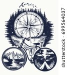 bicycle and mountains tattoo... | Shutterstock .eps vector #699564037
