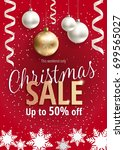 the christmas sale. discounts... | Shutterstock .eps vector #699565027