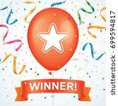 winner greeting card vector... | Shutterstock .eps vector #699594817