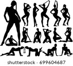 silhouettes of woman standing  ... | Shutterstock .eps vector #699604687