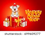cute cheerful cartoon dog ... | Shutterstock .eps vector #699609277