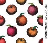 peach fruit retro vector...   Shutterstock .eps vector #699614203