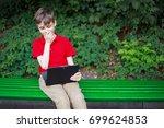 parental advisory. stunned boy...   Shutterstock . vector #699624853
