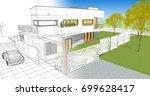 3d illustration  house sketch | Shutterstock . vector #699628417