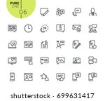 set of social media and... | Shutterstock .eps vector #699631417