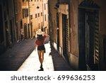 tourist girl  traveling ... | Shutterstock . vector #699636253