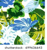 tropical seamless pattern with  ... | Shutterstock .eps vector #699636643