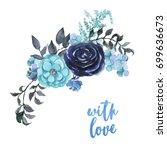 Watercolor Sky Blue Flowers...