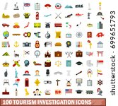 100 tourism investigation icons ... | Shutterstock .eps vector #699651793