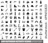 100 outdoor activity icons set... | Shutterstock .eps vector #699651823