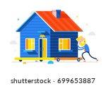 happy businessman rolls his... | Shutterstock .eps vector #699653887