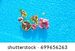 aerial  cheerful fit people on... | Shutterstock . vector #699656263