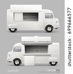 mockup set of retro food truck... | Shutterstock .eps vector #699666577