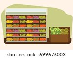 fruit and vegetables shelf with ... | Shutterstock .eps vector #699676003