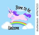 cute unicorn isolated set ... | Shutterstock .eps vector #699676213