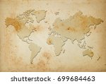 map of the world on old paper | Shutterstock . vector #699684463