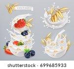 oatmeal. oat grains  strawberry ... | Shutterstock .eps vector #699685933