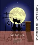 cats in love on a roof against... | Shutterstock .eps vector #699695047