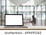 mock up   computer display for... | Shutterstock . vector #699695263