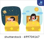happy girl wake up on the... | Shutterstock .eps vector #699704167