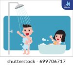 happy boy and girl taking... | Shutterstock .eps vector #699706717