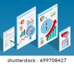 isometric business plan | Shutterstock .eps vector #699708427