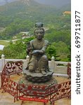 Small photo of Hong Kong, Nirvana statues in front of Tian Tan Buddha in Lantau island.