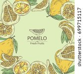 background with pomelo and... | Shutterstock .eps vector #699715117