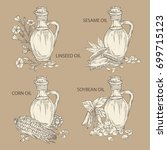 collection of bottle with... | Shutterstock .eps vector #699715123