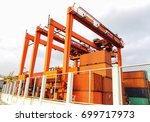 rubber tried gantry cranes  rtg ... | Shutterstock . vector #699717973