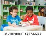 row of multiethnic elementary... | Shutterstock . vector #699723283
