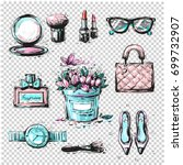 fashion sketch collection of... | Shutterstock .eps vector #699732907