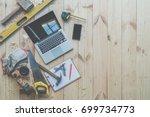 background. top view. on wooden ... | Shutterstock . vector #699734773