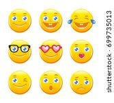 set of cute cartoon emoticons....   Shutterstock .eps vector #699735013