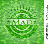 mad green emblem with triangle... | Shutterstock .eps vector #699738667