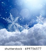 snowflake on snow with bokeh... | Shutterstock . vector #699756577