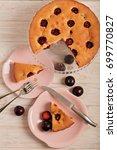 homemade plum cake on a glass...   Shutterstock . vector #699770827