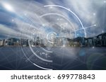 communication network with... | Shutterstock . vector #699778843