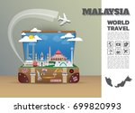 malaysia landmark global travel ... | Shutterstock .eps vector #699820993