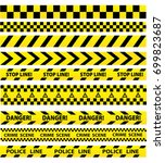 black and yellow police stripe...   Shutterstock .eps vector #699823687