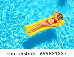 beautiful young girl relaxing... | Shutterstock . vector #699831337